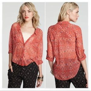 Free People Easy Rider Sheer Button Down Top XS